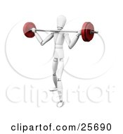 White Figure Character Struggling To Lift A Heavy Barbell Past His Shoulders