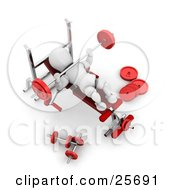Clipart Illustration Of A White Character Working Out With A Barbell At The Bench Press In A Fitness Gym by KJ Pargeter