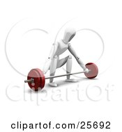 Clipart Illustration Of A White Figure Character Ready To Lift A Barbell Crouching by KJ Pargeter