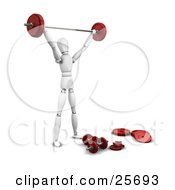 Clipart Illustration Of A White Figure Character Weight Lifting In A Gym With A Barbell And Dumbbells