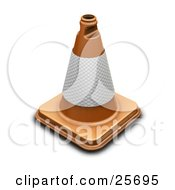 Clipart Illustration Of An Orange Traffic Cone With A Reflective Band