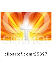 Clipart Illustration Of A Glowing Silver Cross Against A Bursting Yellow Orange And Red Sky