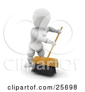 Clipart Illustration Of A Sweeping White Character Cleaning A Floor With A Push Broom With Black Bristles