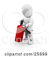 Clipart Illustration Of A White Character Operating A Red Fire Extinguisher by KJ Pargeter