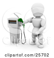 White Character Holding A Green Gas Tank Pump Nozzle Preparing To Fuel A Vehicle