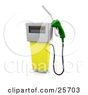 Yellow Gasoline Pump With A Green Nozzle At A Gas Station