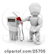 White Character Holding A Red Gas Tank Pump Nozzle Preparing To Fuel A Vehicle