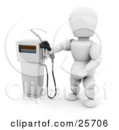 White Character Holding A Black Gas Tank Pump Nozzle Preparing To Fuel A Vehicle