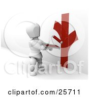 Clipart Illustration Of A White Character Holding A Tray Of Red Paint And Painting A Wall With A Roller