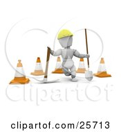 Clipart Illustration Of A White Character Construction Worker Wearing A Hard Hat And Standing With A Pickaxe And Shovel In Front Of Construction Cones