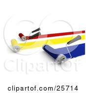Clipart Illustration Of Roller Brushes Painting Red Yellow And Blue Paint To A Wall