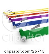 Clipart Illustration Of Roller Brushes Painting Yellow Orange Red Purple Blue And Green Paint To A Wall