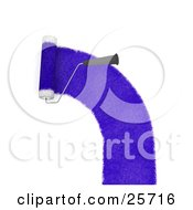 Clipart Illustration Of A Handled Roller Brush Applying A Curved Line Of Purple Paint To A Wall
