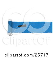 Clipart Illustration Of A Handled Roller Brush Applying A Line Of Blue Paint To A Wall