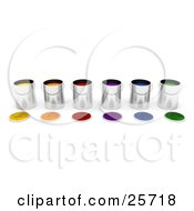 Clipart Illustration Of A Row Of Tin Paint Cans Filled With Colorful Paints Lids Resting In Front