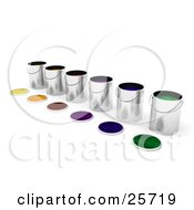 Clipart Illustration Of A Diagonal Row Of Paint Cans Full Of Colorful Paints Lids Resting In Front