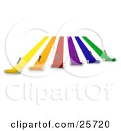 Clipart Illustration Of Roller Brushes Moving Forward And Painting Yellow Orange Red Purple Blue And Green Lines