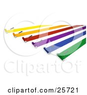 Clipart Illustration Of Rows Of Roller Brushes Applying Yellow Orange Red Purple Blue And Green Paint by KJ Pargeter