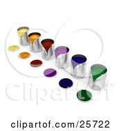 Clipart Illustration Of A Diagonal Row Of Colorful Cans Of Paint Paint Spilling Over The Rims And Lids Resting In Front by KJ Pargeter