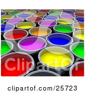 Clipart Illustration Of A Background Of Green Red Pink Yellow Orange And Blue Cans Of Paint by KJ Pargeter