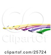 Clipart Illustration Of Rows Of Roller Brushes Applying Yellow Orange Red Purple Blue And Green Paint In Arches Like A Rainbow by KJ Pargeter