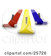 Clipart Illustration Of Three Handled Roller Brushes Applying Red Yellow And Blue Paint To A Wall And Moving Forward by KJ Pargeter