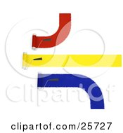 Clipart Illustration Of Three Handled Roller Brushes Applying Red Yellow And Blue Paint To A Wall by KJ Pargeter
