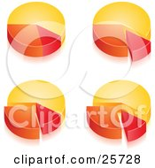 Clipart Illustration Of A Group Of Four Yellow Orange And Red Pie Chart Graphs Showing Different Percentages