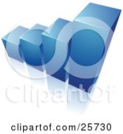 Clipart Illustration Of A Blue Bar Graph Rising From A Reflective White Surface