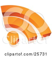Clipart Illustration Of An Orange Wifi Internet Symbol With A Dot And Two Arches