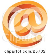 Clipart Illustration Of An Orange At Email Symbol Rising From A White Surface