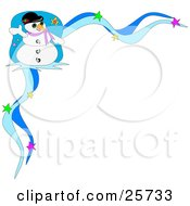 Clipart Illustration Of Frosty The Snowman Wearing A Hat And Purple Scarf And Waving In The Corner Of A Blue Starry Christmas Stationery Border by bpearth