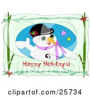 Clipart Illustration Of A Friendly Snowman Waving On A Happy Holiday Greeting With Branches And Red Bows