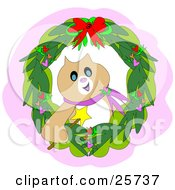 Clipart Illustration Of A Festive Christmas Cat Holding A Magic Wand Inside A Wreath by bpearth