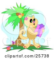 Clipart Illustration Of A Cute Brown Cat Holding A Christmas Gift Under A Decorated Palm Tree by bpearth