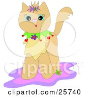 Clipart Illustration Of A Happy Kitty Cat With A Colorful Collar Standing On A Pink And Purple Rug