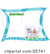 Clipart Illustration Of A Greetings Stationery Sheet With A Colorful Bird On The Back Of A Surprised Gray Cat With Snow On Its Head by bpearth