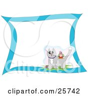 Clipart Illustration Of A Colorful Bird On The Back Of A Surprised Gray Cat With Snow On Its Head With Blank White Space And A Blue Border by bpearth