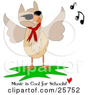 Clipart Illustration Of A Brown Owl Wearing A Red Scarf And Flapping His Wings To Music With Text Reading Music Is Cool For Schools by bpearth