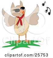 Clipart Illustration Of A Musical Brown Owl Wearing A Red Scarf by bpearth