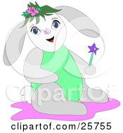 Clipart Illustration Of A Happy Gray White And Green Bunny Rabbit Holding A Magic Wand by bpearth