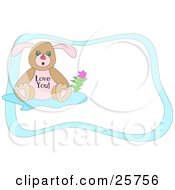 Clipart Illustration Of A Cute Little Brown And Pink Bunny With A Flower Wearing A Love You Shirt With A Blue Stationery Border by bpearth