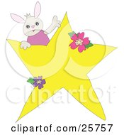 Clipart Illustration Of A Cute Little Bunny In A Pink Shirt Peeking From Behind A Big Yellow Star