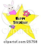 Clipart Illustration Of A Cute Little Bunny In A Pink Shirt On Top Of A Happy Birthday Greeting Star by bpearth