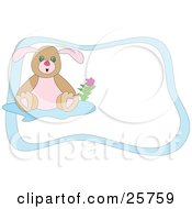Clipart Illustration Of A Cute Little Brown And Pink Bunny With A Flower Over A White Stationery Background And Blue Border by bpearth