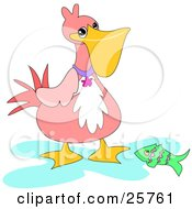 Clipart Illustration Of A Proud Pink Pelican Showing Off A Green Fish He Caught by bpearth