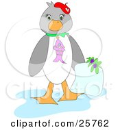 Clipart Illustration Of A Cute Gray And White Penguin Bird Wearing A Fish Collar And Holding A Blank Letter by bpearth