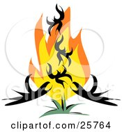 Clipart Illustration Of A Phoenix Bird Rising From Red And Orange Flames