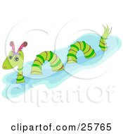 Clipart Illustration Of A Green Striped Dragon Or Serpent Wading In Water by bpearth