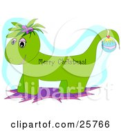 Clipart Illustration Of A Green Christmas Dragon Wearing An Ornament On Its Tail And A Merry Christmas Greeting On Its Body by bpearth